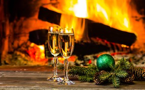 Picture fire, New Year, glasses, Christmas, fireplace, champagne