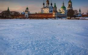 Picture winter, snow, landscape, nature, the monastery, Paul Narikov