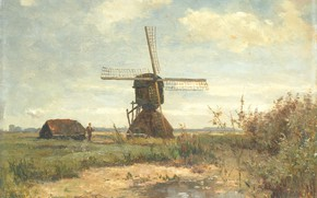 Picture landscape, oil, picture, 1903, Paul Gabriel, Paul Gabriel, Sunny day. The mill pond