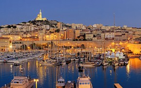 Picture the city, Marina, boats, the evening, Marseille at night