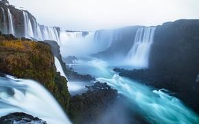 Picture river, waterfalls, Brazil, Iguazu Falls, Argentina, Argentina, Brazil, Iguazu Falls, The Iguaçu River, Iguazu River