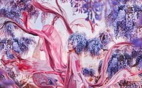 Picture girl, flowers, style, mood, dress, Wisteria, Wisteria, Kristina Makeeva