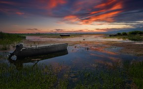 Picture clouds, algae, sunset, hills, shore, boat, boats, the evening, pond