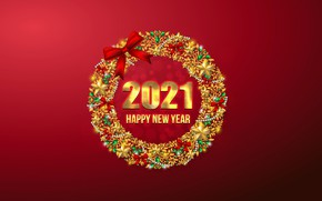 Picture red, background, holiday, patterns, Christmas, figures, New year, bow, 2021