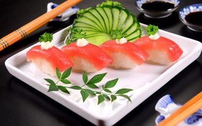 Picture fish, sushi, serving