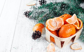 Picture decoration, New Year, Christmas, Christmas, wood, winter, snow, fruit, New Year, tangerines, decoration, tangerine, Merry, …