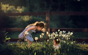 Picture flowers, nature, children, girls, the game, spring, tulips, Marianne Smolin
