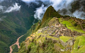 Wallpaper forest, clouds, trees, mountains, river, height, the ruins, gorge, abyss, the view from the top, ...