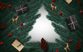 Picture photo, Branches, New year, Deer, Bumps, Gifts, Vector graphics