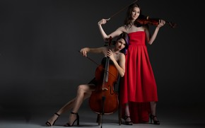 Picture music, girls, violin