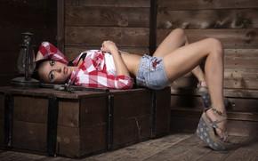 Picture look, girl, pose, shorts, lamp, box, Komrad Petrov