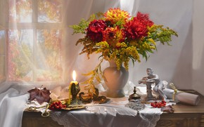 Picture autumn, grass, flowers, paper, berries, pen, candle, window, vase, figurine, still life, curtain, Rowan, napkin, …