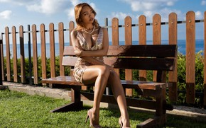 Picture cleavage, sky, ocean, clouds, outside, green grass, shadow, posing, high heels, pearl necklace, lawn, beautiful …