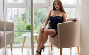 Picture look, flowers, sexy, pose, model, Windows, portrait, interior, makeup, figure, dress, hairstyle, shoes, vase, brown …