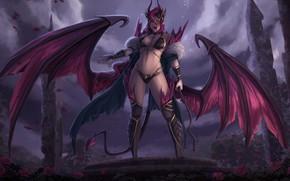 Picture look, girl, wings, the demon, demoness