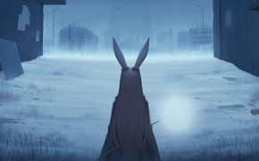 Picture girl, snow, the city, rabbit, ears