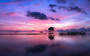 Picture sea, the sky, clouds, sunset, network, reflection, design, boats, the evening, horizon, Bay, Vietnam, twilight, …