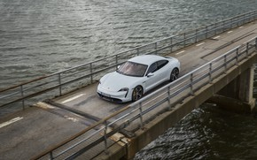 Picture water, bridge, movement, Porsche, Turbo S, 2020, Taycan