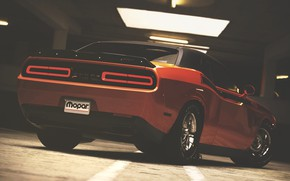 Picture Machine, Orange, Dodge, Challenger, Dodge Challenger, Muscle car, Rendering, Transport & Vehicles, by Timothy Adry, …