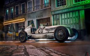 Picture Auto, Night, The city, Retro, Machine, Mercedes, Car, Mercedes Benz, The car, Rendering, Retro, Silver …