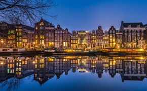 Picture reflection, building, home, pier, Amsterdam, Netherlands, night city, Amsterdam, Netherlands, Singel Canal, The Singel Canal