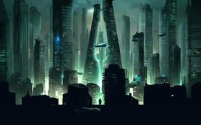 Picture Night, The city, Future, Skyscrapers, Fiction
