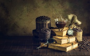 Picture watch, coffee, roses, Vintage, Books