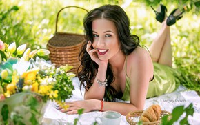 Picture look, face, smile, mood, brunette, picnic, Sergei Savin, Yulia Molokova