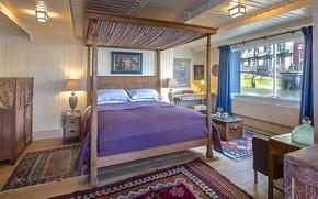 Picture design, style, interior, bedroom, London, cabin, United Kingdom, houseboat, New Concordia Wharf
