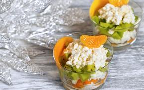 Picture kiwi, dessert, cheese, tangerines
