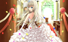 Picture girl, flowers, the bride, white dress, ruffles
