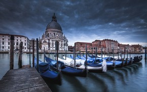 Picture clouds, the city, building, boats, pier, Italy, Church, Venice, channel, the dome, gondola, The Grand …