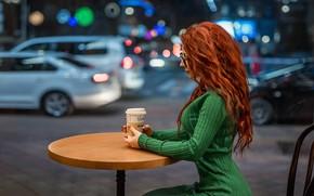 Picture Model, redhead, green dress, A Diakov George