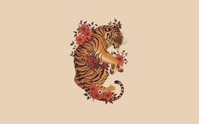 Picture Flowers, Minimalism, Tiger, Style, Fantasy, Art, Art, Tiger, Fiction, Illustration, Animal, Minimalism, Creature, Nora Potwora, …