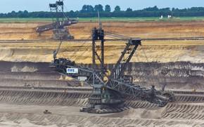 Picture quarry, bucket wheel excavator, excavators