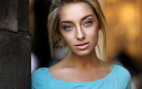 Picture look, model, portrait, makeup, hairstyle, blonde, beauty, Anna, bokeh, Dmitry Arhar