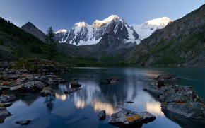 Wallpaper forest, summer, mountains, lake, blue, stones, the slopes, tops, ate, pond, in the mountains, snow, ...