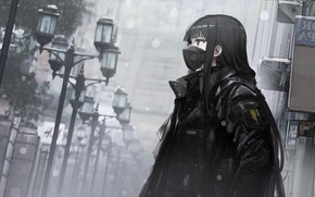 Picture loneliness, mediocrity, respirator, quarantine, in the mask, black hair, black jacket, insulation, deserted city, depressive