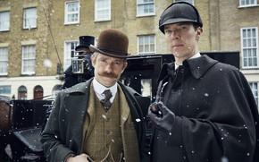 Picture winter, snow, two, Sherlock Holmes, The bride, Martin Freeman, Benedict Cumberbatch, Sherlock, Sherlock BBC, Sherlock …