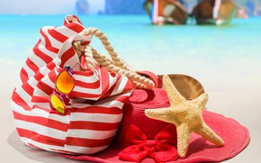 Picture sand, sea, beach, the sun, background, stay, shore, vacation, boats, hat, glasses, rope, starfish, bag, …
