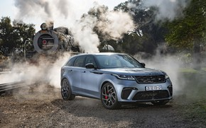 Picture auto, smoke, the engine, couples, railroad, Land Rover, Range Rover, crossover, Velar