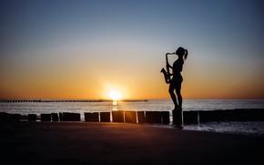 Wallpaper sea, beach, girl, sunset, shore, saxophone