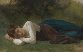 Picture Stay, 1880, French painter, French painter, William-Adolphe Bouguereau, The rest, William-Adolphe Bouguereau