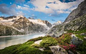 Picture clouds, landscape, mountains, nature, lake, stones, vegetation, Switzerland, Alps, Albignasego, Albignasee