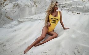 Wallpaper sand, chest, pose, model, Girl, tattoo, glasses, Max Field He