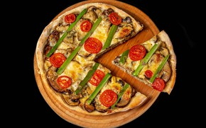 Picture mushrooms, cheese, vegetables, pizza, tomatoes