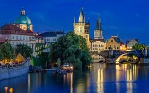 Picture lights, river, the evening, Prague, Czech Republic, Charles bridge