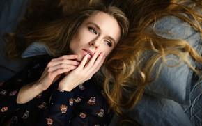Picture pose, model, portrait, makeup, hairstyle, lies, pillow, brown hair, Sergey Fat, Natalya Makaruk