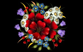 Picture flowers, decoration, the dark background