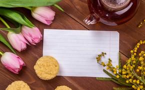 Picture sheet, tea, tulips, cupcake, Mimosa